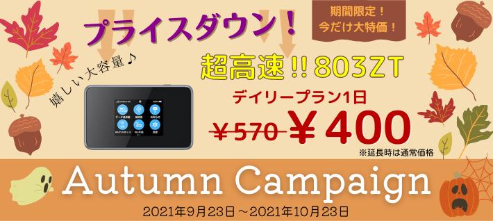Autumn Campaign【2021年9月23日~2021年10月23日】期間限定!今だけ大特価!超高速!!803ZT
